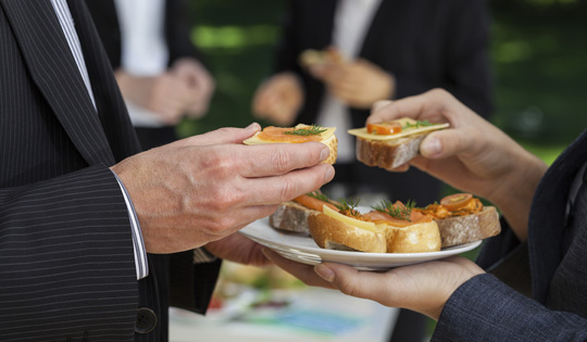 Business Professionals network over appetizers