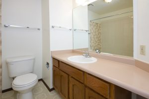 Dated bathroom in need of a remodel.