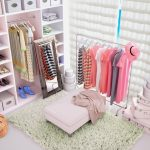 Light dressing room with bright clothing